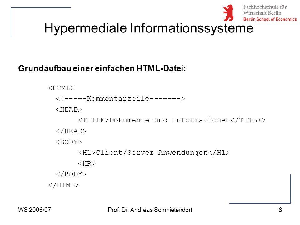 WS 2006/07Prof. Dr. Andreas Schmietendorf8 Hypermediale Informationssysteme Grundaufbau einer einfachen HTML-Datei: Dokumente und Informationen Client