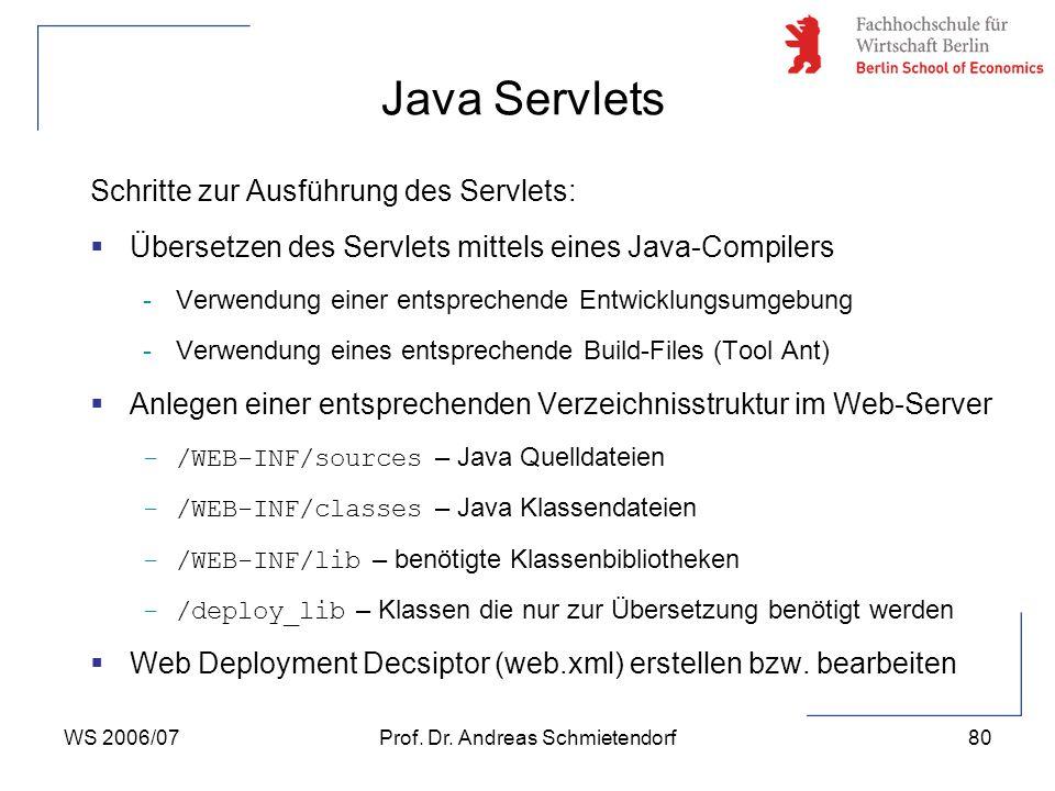 WS 2006/07Prof. Dr. Andreas Schmietendorf80 Schritte zur Ausführung des Servlets:  Übersetzen des Servlets mittels eines Java-Compilers -Verwendung e