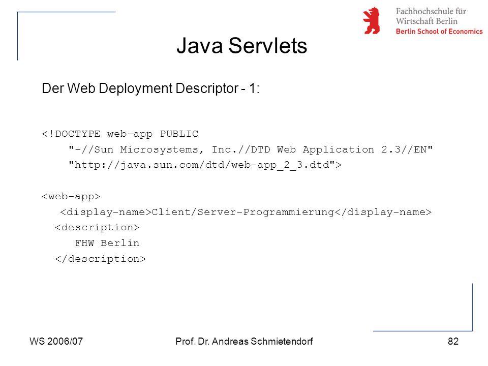 WS 2006/07Prof. Dr. Andreas Schmietendorf82 Der Web Deployment Descriptor - 1: <!DOCTYPE web-app PUBLIC