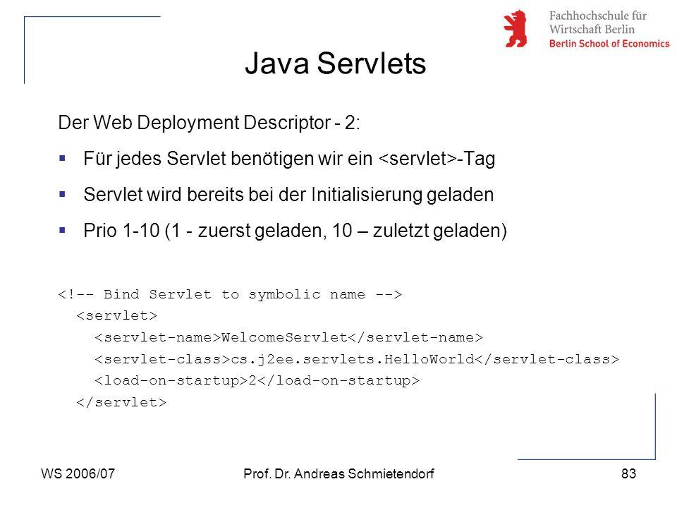 WS 2006/07Prof. Dr. Andreas Schmietendorf83 Der Web Deployment Descriptor - 2:  Für jedes Servlet benötigen wir ein -Tag  Servlet wird bereits bei d