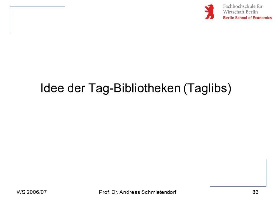 WS 2006/07Prof. Dr. Andreas Schmietendorf86 Idee der Tag-Bibliotheken (Taglibs)