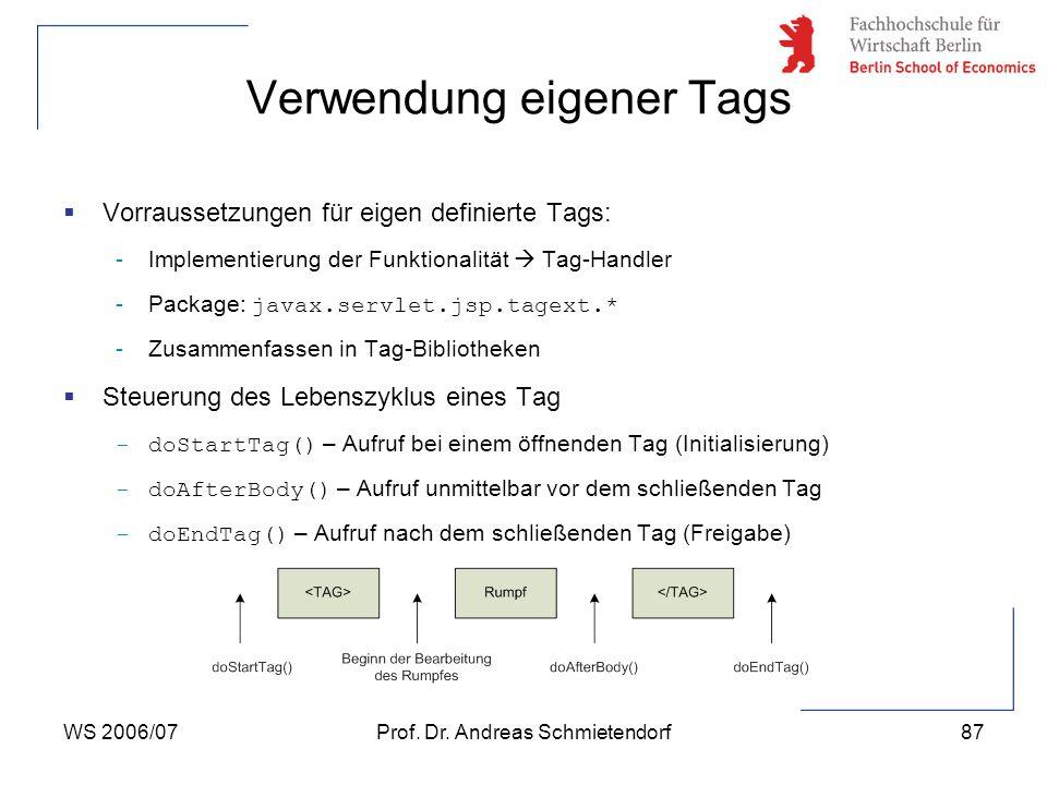 WS 2006/07Prof. Dr. Andreas Schmietendorf87 Verwendung eigener Tags  Vorraussetzungen für eigen definierte Tags: -Implementierung der Funktionalität