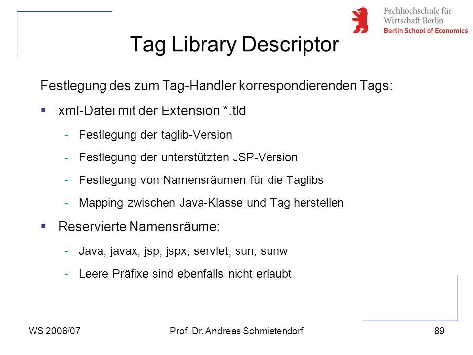 WS 2006/07Prof. Dr. Andreas Schmietendorf89 Festlegung des zum Tag-Handler korrespondierenden Tags:  xml-Datei mit der Extension *.tld -Festlegung de