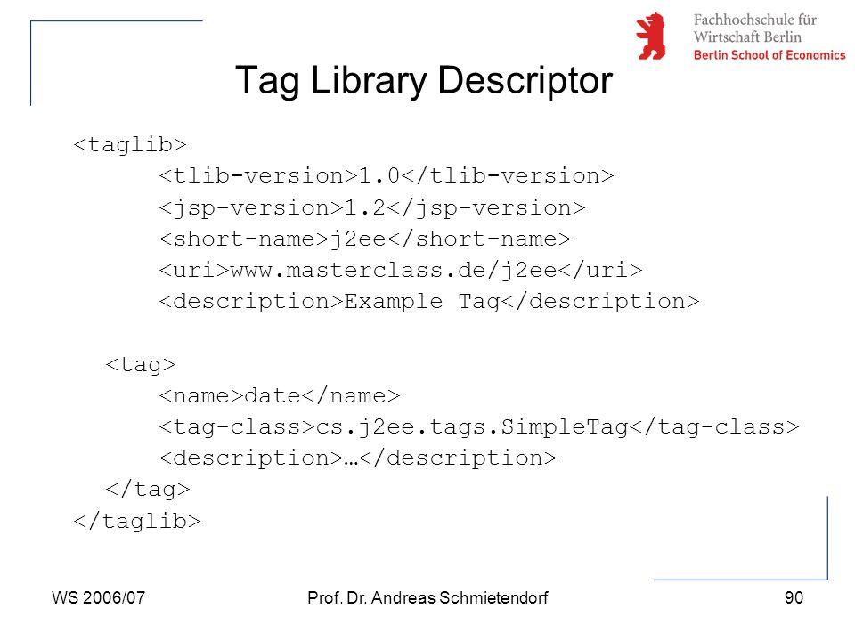WS 2006/07Prof. Dr. Andreas Schmietendorf90 1.0 1.2 j2ee www.masterclass.de/j2ee Example Tag date cs.j2ee.tags.SimpleTag … Tag Library Descriptor
