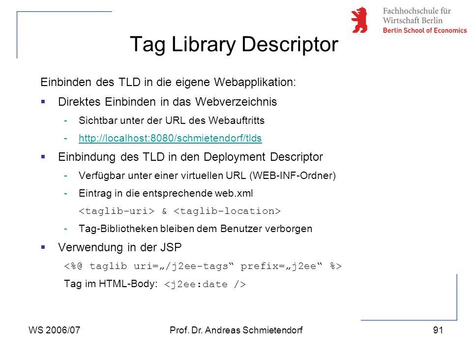 WS 2006/07Prof. Dr. Andreas Schmietendorf91 Einbinden des TLD in die eigene Webapplikation:  Direktes Einbinden in das Webverzeichnis -Sichtbar unter