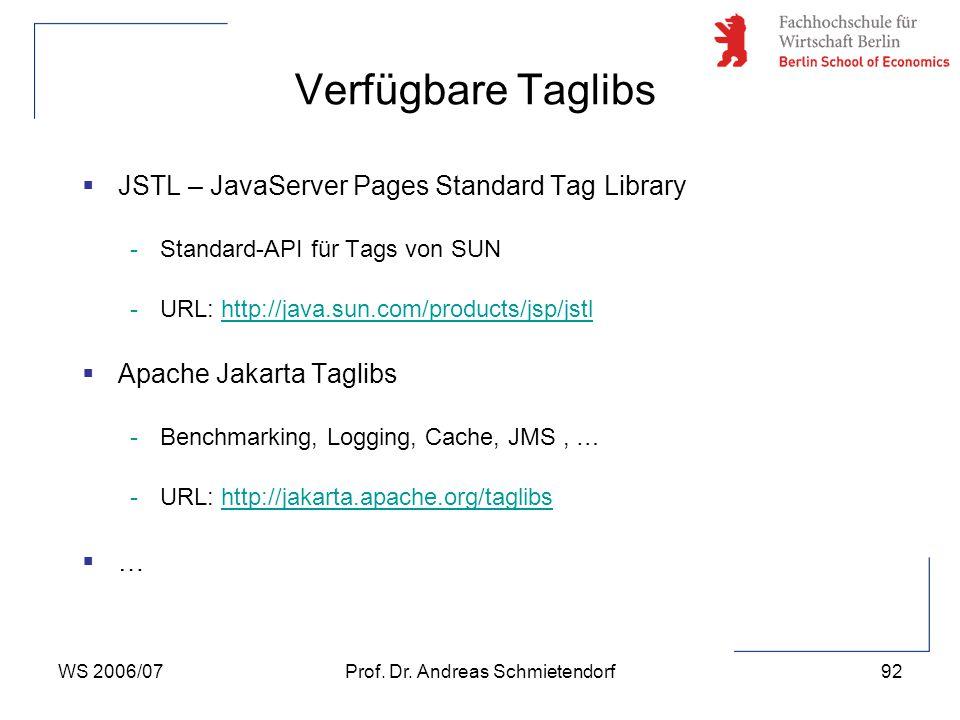 WS 2006/07Prof. Dr. Andreas Schmietendorf92  JSTL – JavaServer Pages Standard Tag Library -Standard-API für Tags von SUN -URL: http://java.sun.com/pr
