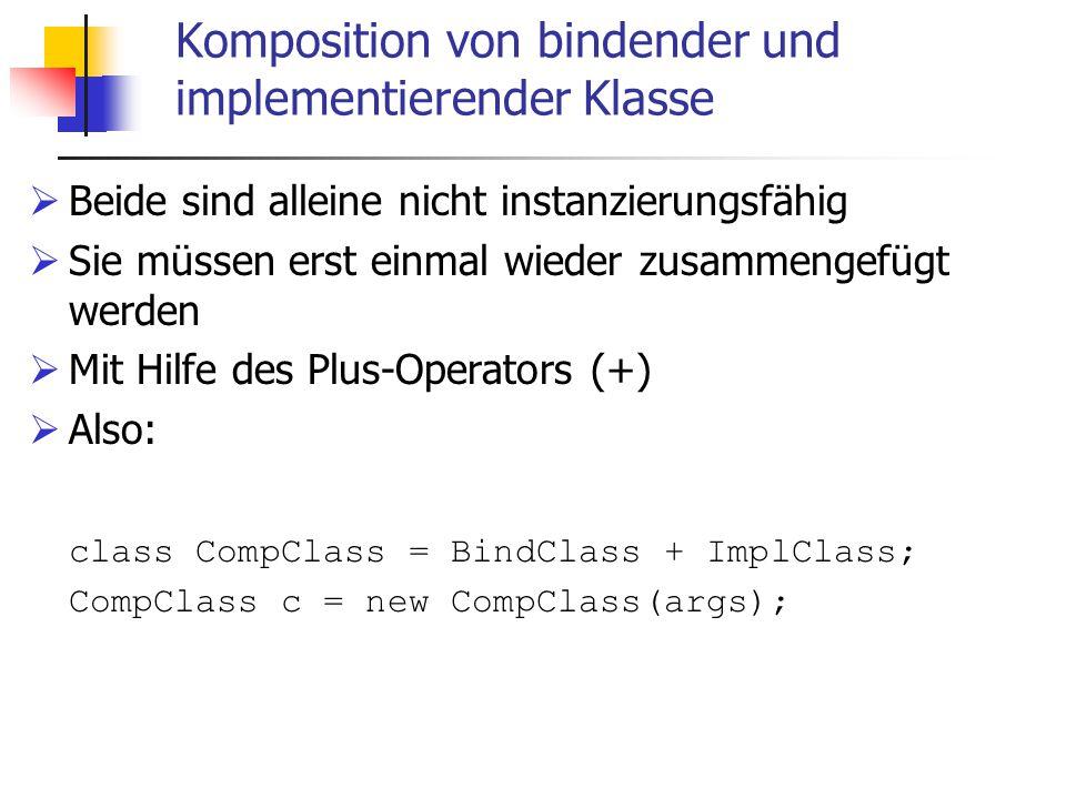 Komposition von bindender und implementierender Klasse  Beide sind alleine nicht instanzierungsfähig  Sie müssen erst einmal wieder zusammengefügt werden  Mit Hilfe des Plus-Operators (+)  Also: class CompClass = BindClass + ImplClass; CompClass c = new CompClass(args);