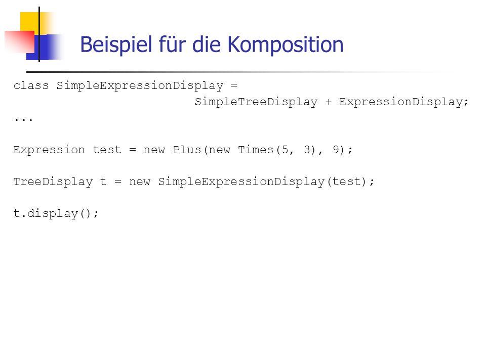 Beispiel für die Komposition class SimpleExpressionDisplay = SimpleTreeDisplay + ExpressionDisplay;... Expression test = new Plus(new Times(5, 3), 9);