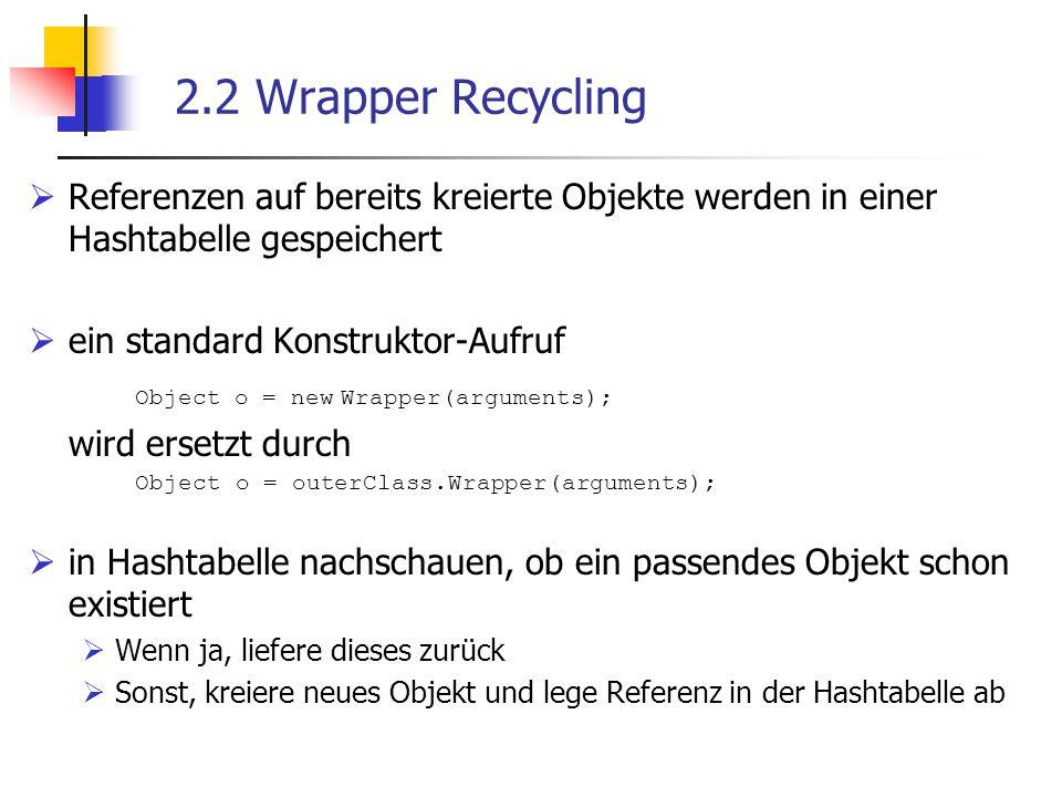 2.2 Wrapper Recycling  Referenzen auf bereits kreierte Objekte werden in einer Hashtabelle gespeichert  ein standard Konstruktor-Aufruf Object o = new Wrapper(arguments); wird ersetzt durch Object o = outerClass.Wrapper(arguments);  in Hashtabelle nachschauen, ob ein passendes Objekt schon existiert  Wenn ja, liefere dieses zurück  Sonst, kreiere neues Objekt und lege Referenz in der Hashtabelle ab