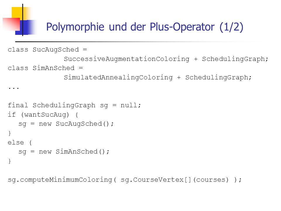 Polymorphie und der Plus-Operator (1/2) class SucAugSched = SuccessiveAugmentationColoring + SchedulingGraph; class SimAnSched = SimulatedAnnealingCol