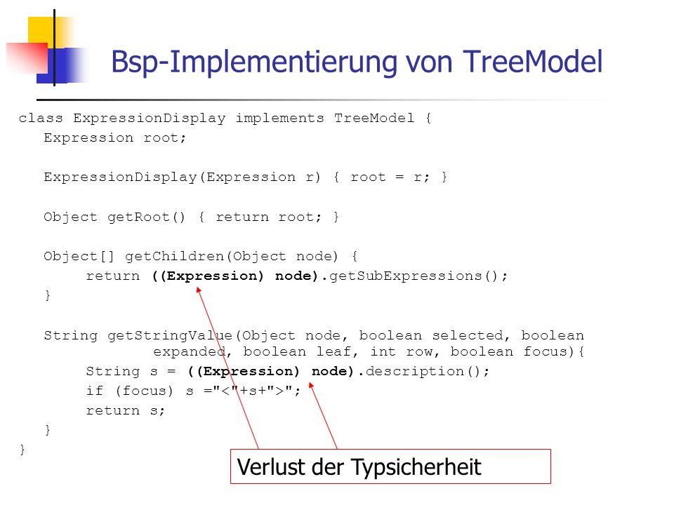 Abgewandeltes TreeModel interface TreeModel { TreeNode getRoot(); } interface TreeNode { TreeNode[] getChildren(); String getStringValue(boolean selected, boolean expanded, boolean leaf, int row, boolean focus); }