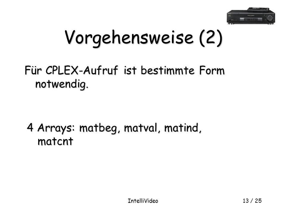 IntelliVideo13 / 25 Vorgehensweise (2) Für CPLEX-Aufruf ist bestimmte Form notwendig.