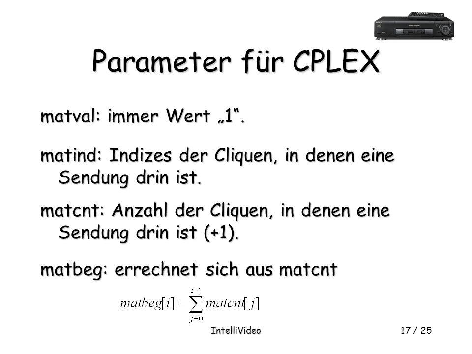 """IntelliVideo17 / 25 Parameter für CPLEX matval: immer Wert """"1 ."""