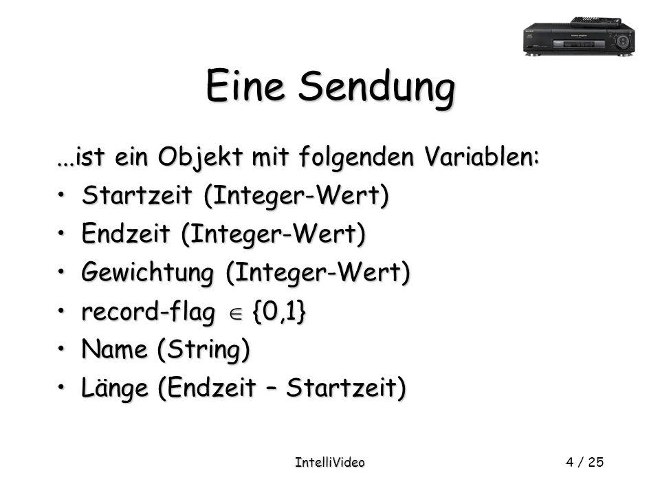IntelliVideo4 / 25 Eine Sendung...ist ein Objekt mit folgenden Variablen: Startzeit (Integer-Wert)Startzeit (Integer-Wert) Endzeit (Integer-Wert)Endzeit (Integer-Wert) Gewichtung (Integer-Wert)Gewichtung (Integer-Wert) record-flag  {0,1}record-flag  {0,1} Name (String)Name (String) Länge (Endzeit – Startzeit)Länge (Endzeit – Startzeit)