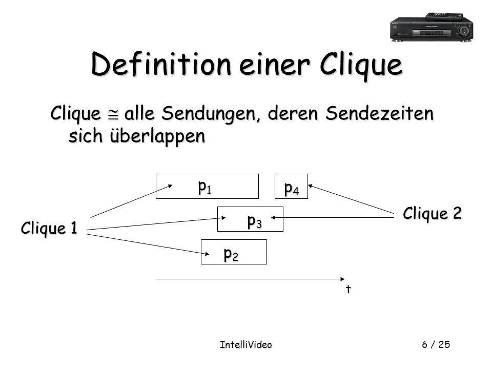 IntelliVideo6 / 25 Definition einer Clique Clique  alle Sendungen, deren Sendezeiten sich überlappen p1p1p1p1 p3p3p3p3 p4p4p4p4 p2p2p2p2 t Clique 1 Clique 2