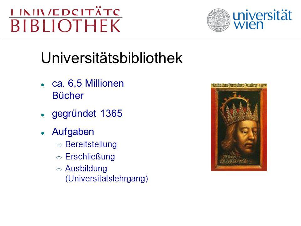 Aufbau der UB l Zweigliedrige Bibliothek ó Zentraler Bereich (Hauptbibliothek) ó Dezentraler Bereich (Fachbereichsbibliotheken) l Universitätsarchiv