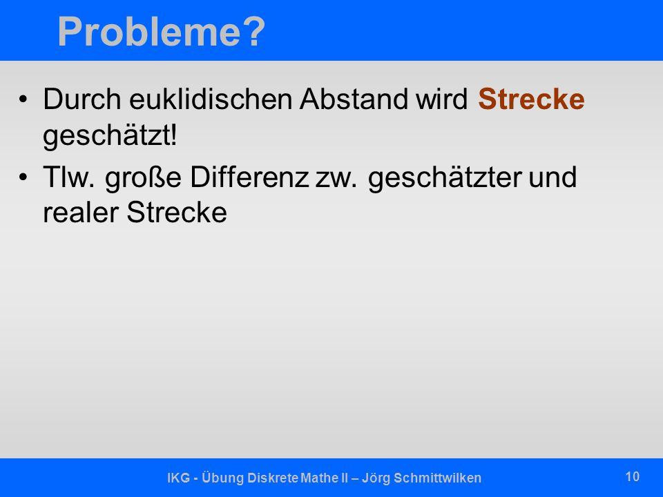 IKG - Übung Diskrete Mathe II – Jörg Schmittwilken 10 Probleme.