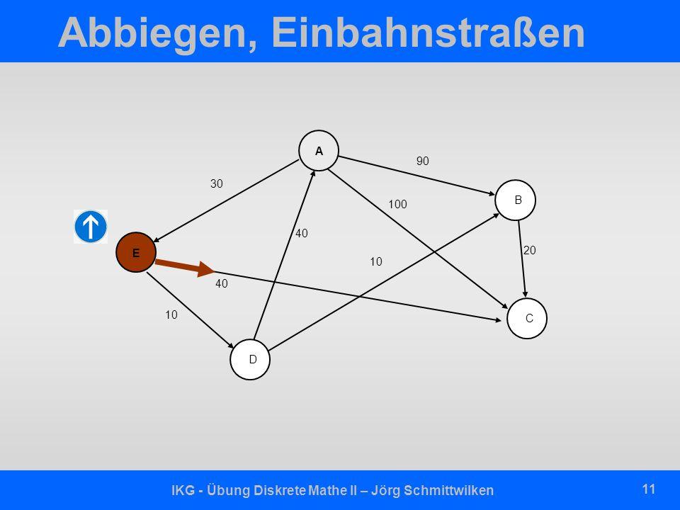 IKG - Übung Diskrete Mathe II – Jörg Schmittwilken 11 Abbiegen, Einbahnstraßen D E A B C 30 90 20 40 100 10 40