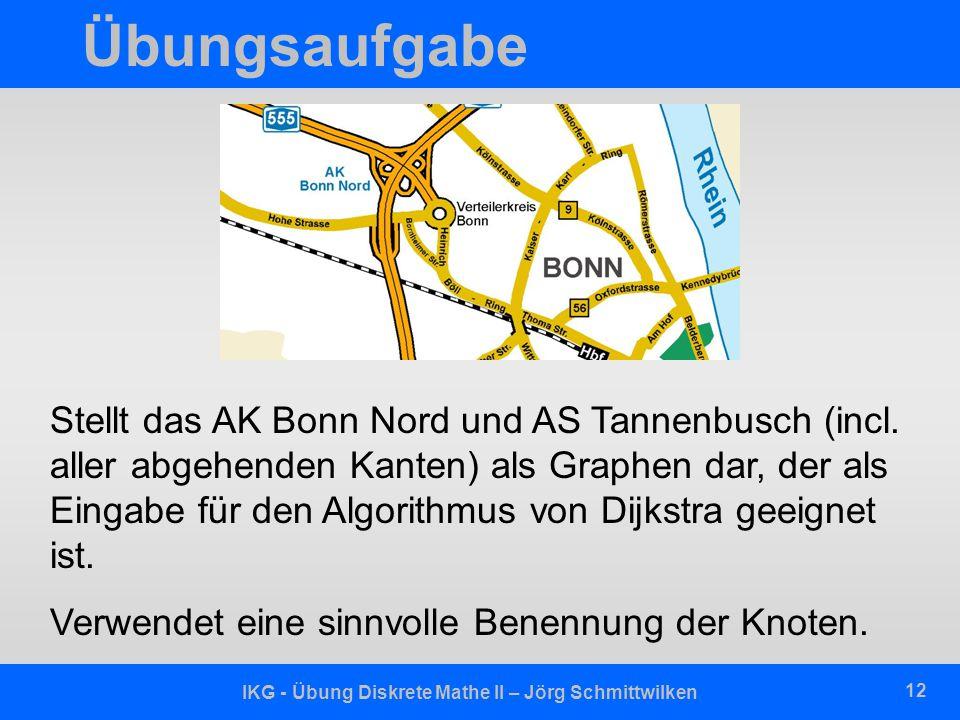 IKG - Übung Diskrete Mathe II – Jörg Schmittwilken 12 Übungsaufgabe Stellt das AK Bonn Nord und AS Tannenbusch (incl.