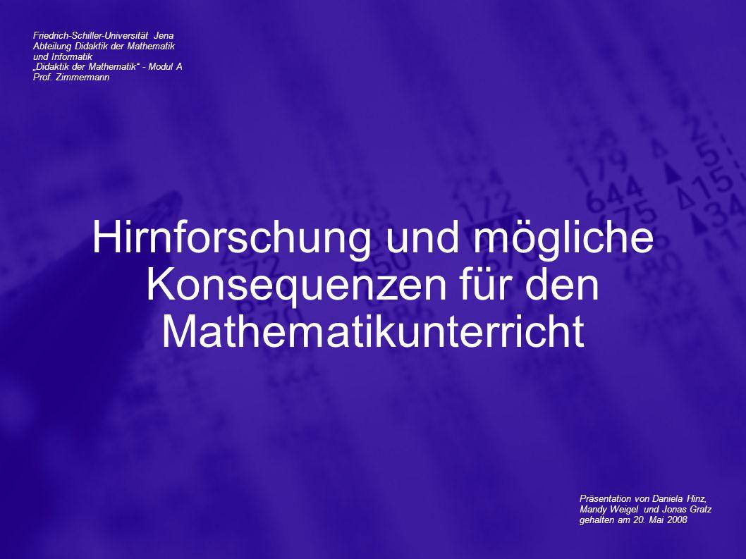"""Friedrich-Schiller-Universität Jena Abteilung Didaktik der Mathematik und Informatik """"Didaktik der Mathematik"""" - Modul A Prof. Zimmermann Präsentation"""