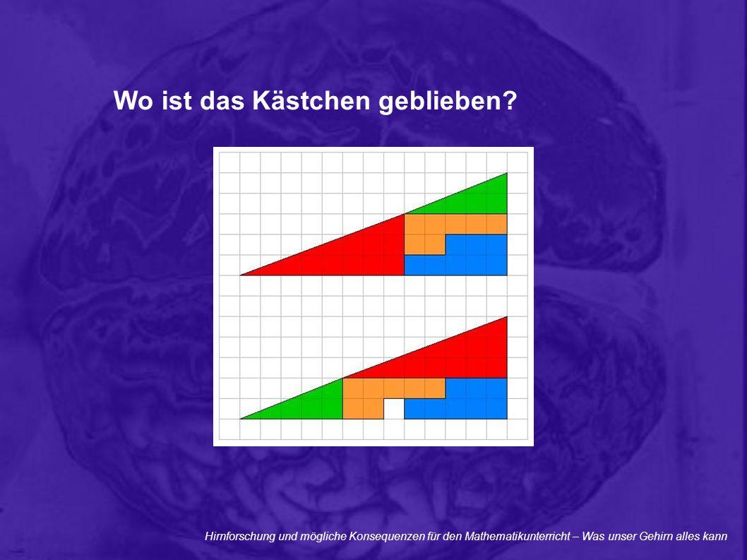 Hirnforschung und mögliche Konsequenzen für den Mathematikunterricht – Was unser Gehirn alles kann Wo ist das Kästchen geblieben?