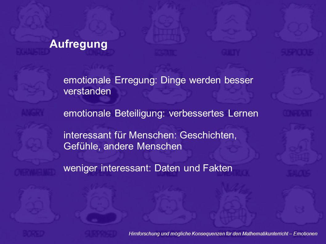 Hirnforschung und mögliche Konsequenzen für den Mathematikunterricht – Emotionen Aufregung emotionale Erregung: Dinge werden besser verstanden emotion