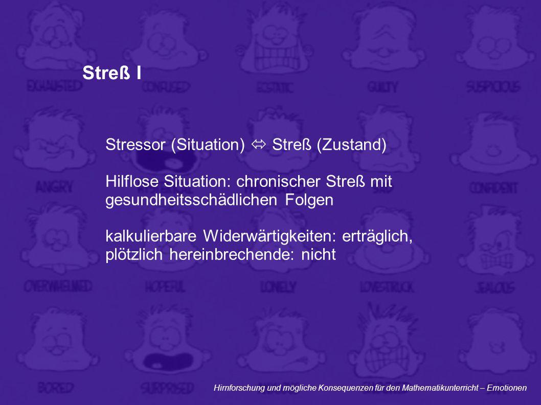 Hirnforschung und mögliche Konsequenzen für den Mathematikunterricht – Emotionen Streß I Stressor (Situation)  Streß (Zustand) Hilflose Situation: ch