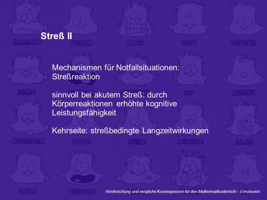 Hirnforschung und mögliche Konsequenzen für den Mathematikunterricht – Emotionen Streß II Mechanismen für Notfallsituationen: Streßreaktion sinnvoll b