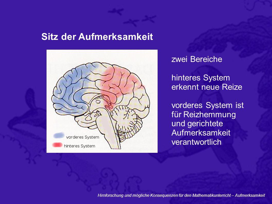 Hirnforschung und mögliche Konsequenzen für den Mathematikunterricht – Aufmerksamkeit Sitz der Aufmerksamkeit zwei Bereiche hinteres System erkennt ne