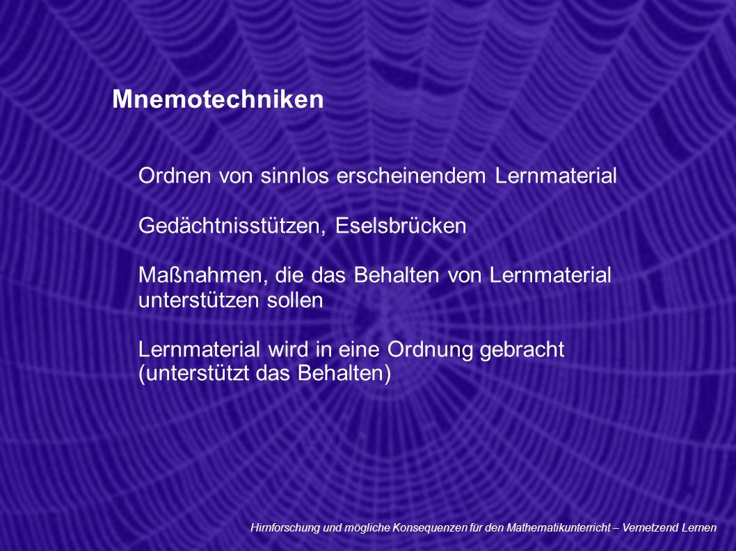 Mnemotechniken Ordnen von sinnlos erscheinendem Lernmaterial Gedächtnisstützen, Eselsbrücken Maßnahmen, die das Behalten von Lernmaterial unterstützen