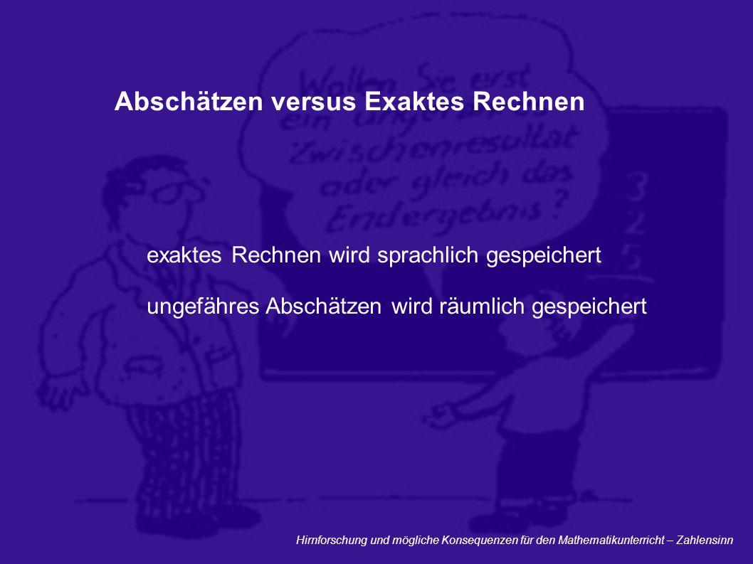 Hirnforschung und mögliche Konsequenzen für den Mathematikunterricht – Zahlensinn Abschätzen versus Exaktes Rechnen exaktes Rechnen wird sprachlich ge