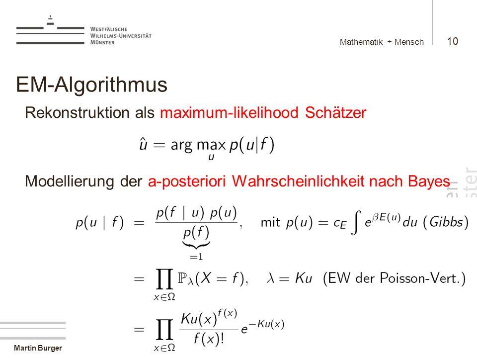 Martin Burger Mathematik + Mensch 10 9.4.2008 EM-Algorithmus Rekonstruktion als maximum-likelihood Schätzer Modellierung der a-posteriori Wahrscheinlichkeit nach Bayes