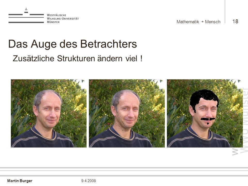 Martin Burger Mathematik + Mensch 18 9.4.2008 Das Auge des Betrachters Zusätzliche Strukturen ändern viel !