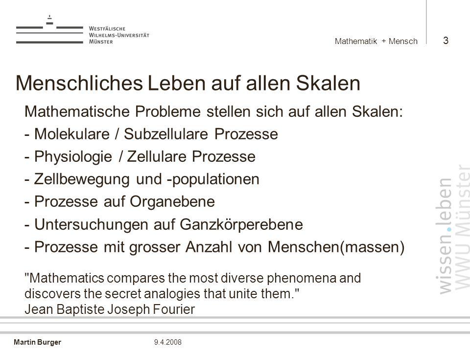 Martin Burger Mathematik + Mensch 4 9.4.2008 Beispiele aus meiner Forschung - Simulation von Ionenkanälen - Simulation von Zellbewegung - Molekulare Bildgebung - Bildgebung auf grösseren Skalen - Simulation sozio-ökonomischer Prozesse Mathematics creates our standard of living. Bob Eisenberg Sozialkompetenz ist auch in der Mathematik eine ganz wichtige Eigenschaft. Wolfgang Lück (FOCUS, Jan 08)
