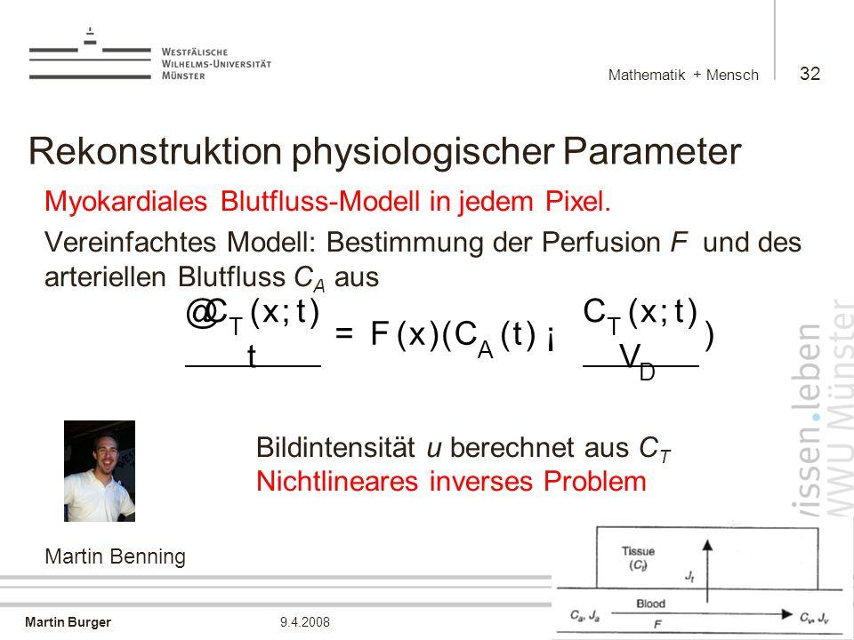 Martin Burger Mathematik + Mensch 32 9.4.2008 Rekonstruktion physiologischer Parameter Myokardiales Blutfluss-Modell in jedem Pixel.