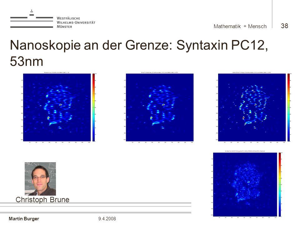 Martin Burger Mathematik + Mensch 38 9.4.2008 Nanoskopie an der Grenze: Syntaxin PC12, 53nm Christoph Brune