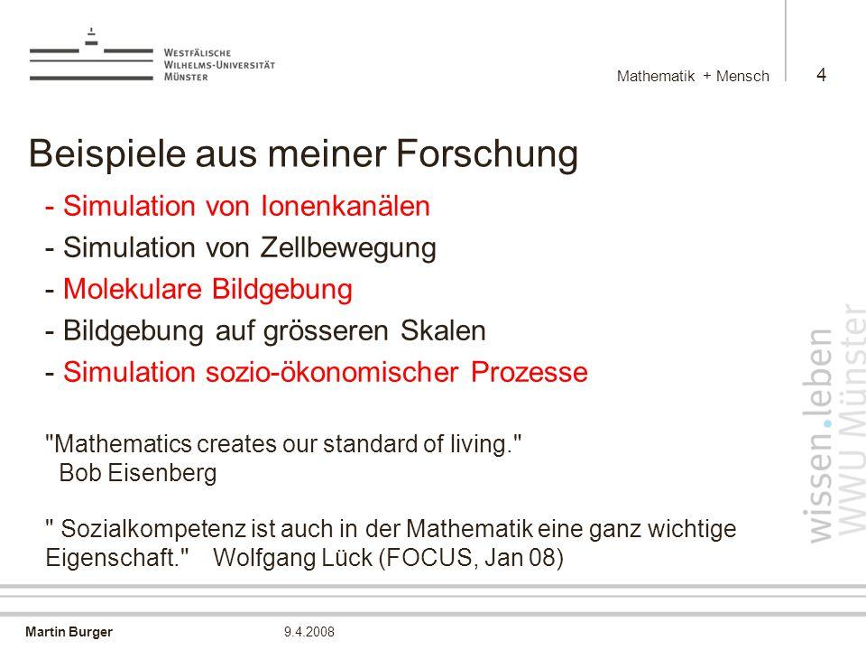 Martin Burger Mathematik + Mensch 45 9.4.2008 Fussgängersimulation Simulation der Entleerung eines Raumes mit zwei Türen und einem Hindernis Bärbel Schlake