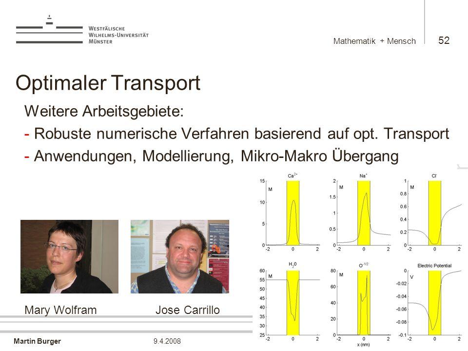 Martin Burger Mathematik + Mensch 52 9.4.2008 Optimaler Transport Weitere Arbeitsgebiete: - Robuste numerische Verfahren basierend auf opt.