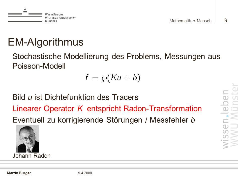 Martin Burger Mathematik + Mensch 20 9.4.2008 Warum TV-Methoden .