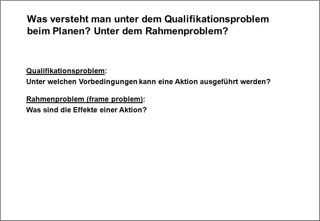 Was versteht man unter dem Qualifikationsproblem beim Planen? Unter dem Rahmenproblem? Qualifikationsproblem: Unter welchen Vorbedingungen kann eine A
