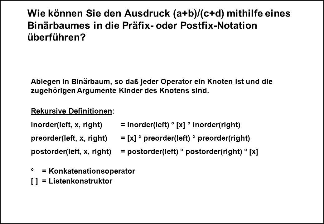 Wie können Sie den Ausdruck (a+b)/(c+d) mithilfe eines Binärbaumes in die Präfix- oder Postfix-Notation überführen? Rekursive Definitionen: inorder(le