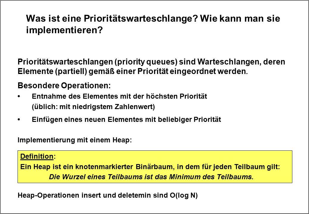 Was ist eine Prioritätswarteschlange? Wie kann man sie implementieren? Definition: Ein Heap ist ein knotenmarkierter Binärbaum, in dem für jeden Teilb