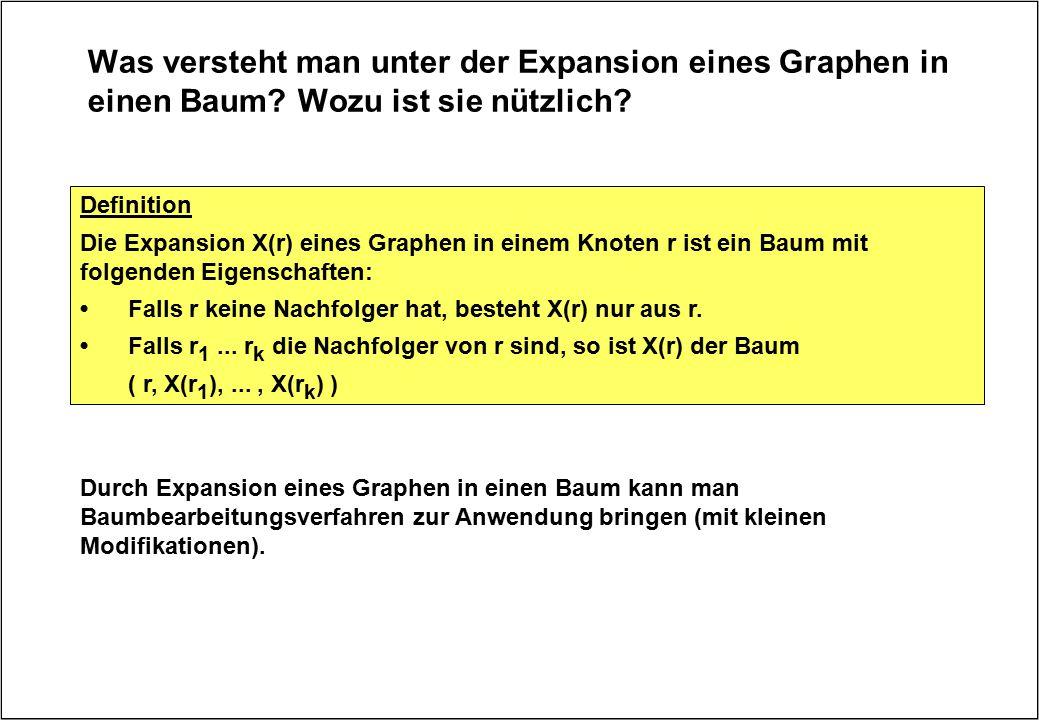 Was versteht man unter der Expansion eines Graphen in einen Baum? Wozu ist sie nützlich? Definition Die Expansion X(r) eines Graphen in einem Knoten r