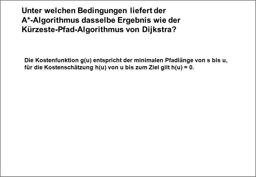 Unter welchen Bedingungen liefert der A*-Algorithmus dasselbe Ergebnis wie der Kürzeste-Pfad-Algorithmus von Dijkstra? Die Kostenfunktion g(u) entspri