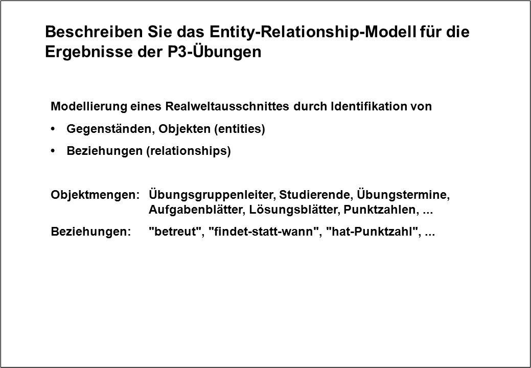 Beschreiben Sie das Entity-Relationship-Modell für die Ergebnisse der P3-Übungen Modellierung eines Realweltausschnittes durch Identifikation von Gege