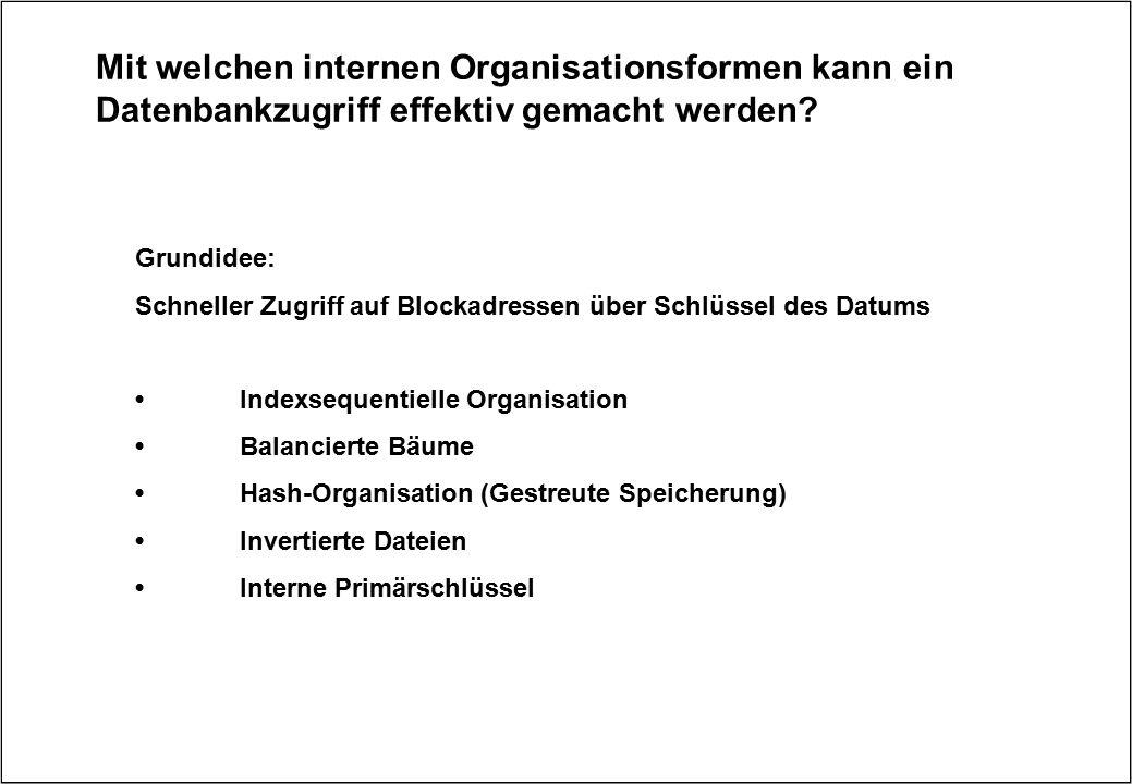 Mit welchen internen Organisationsformen kann ein Datenbankzugriff effektiv gemacht werden? Grundidee: Schneller Zugriff auf Blockadressen über Schlüs