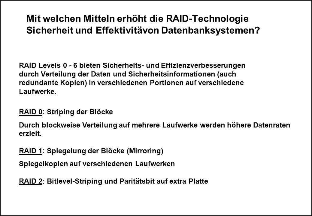 Mit welchen Mitteln erhöht die RAID-Technologie Sicherheit und Effektivitävon Datenbanksystemen? RAID Levels 0 - 6 bieten Sicherheits- und Effizienzve