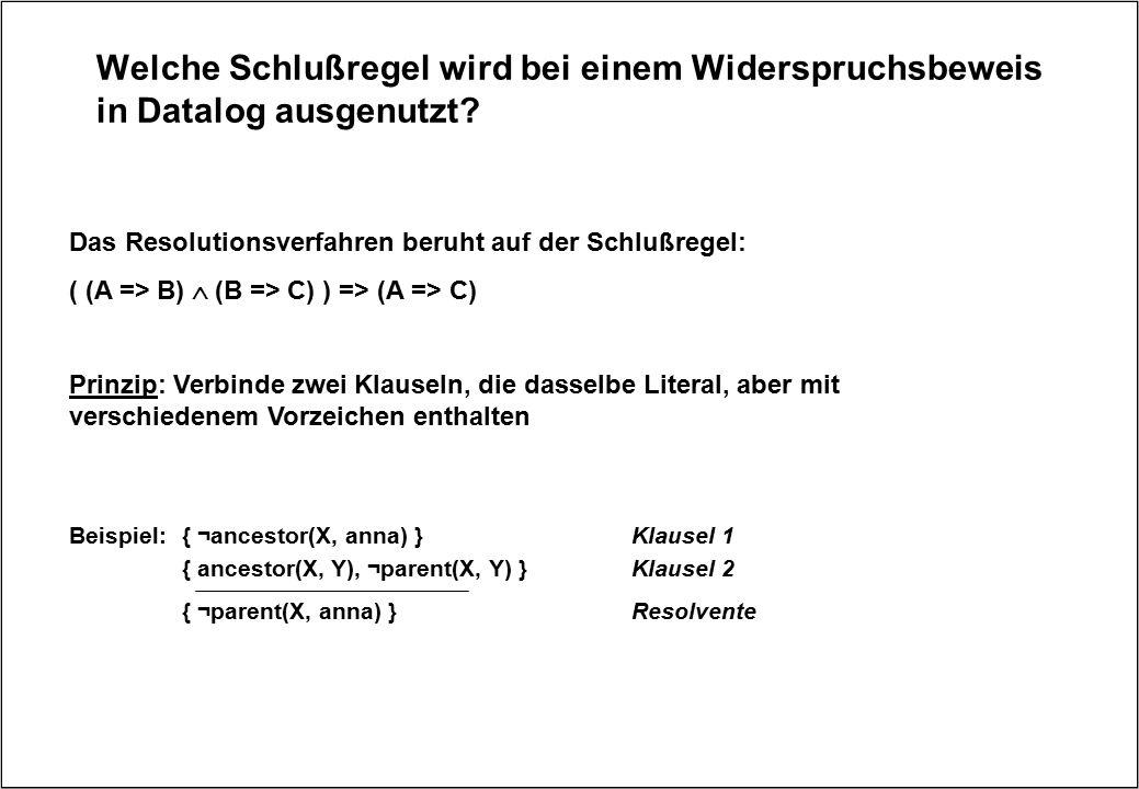 Welche Schlußregel wird bei einem Widerspruchsbeweis in Datalog ausgenutzt? Das Resolutionsverfahren beruht auf der Schlußregel: ( (A => B)  (B => C