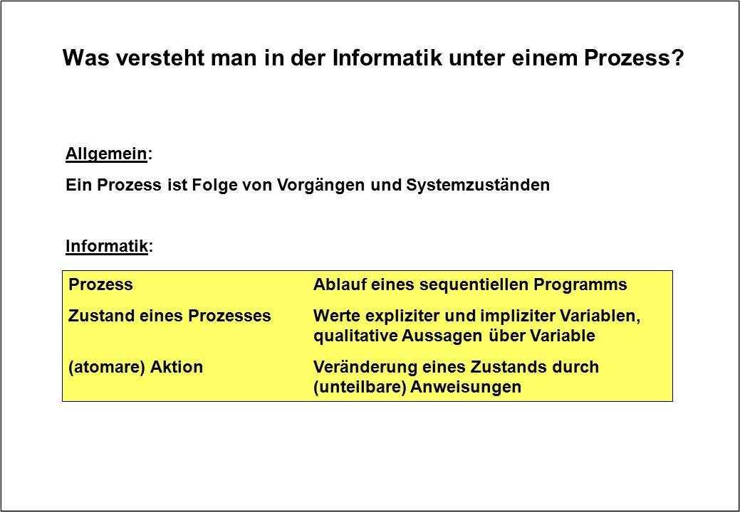Was versteht man in der Informatik unter einem Prozess? Prozess Ablauf eines sequentiellen Programms Zustand eines ProzessesWerte expliziter und impli