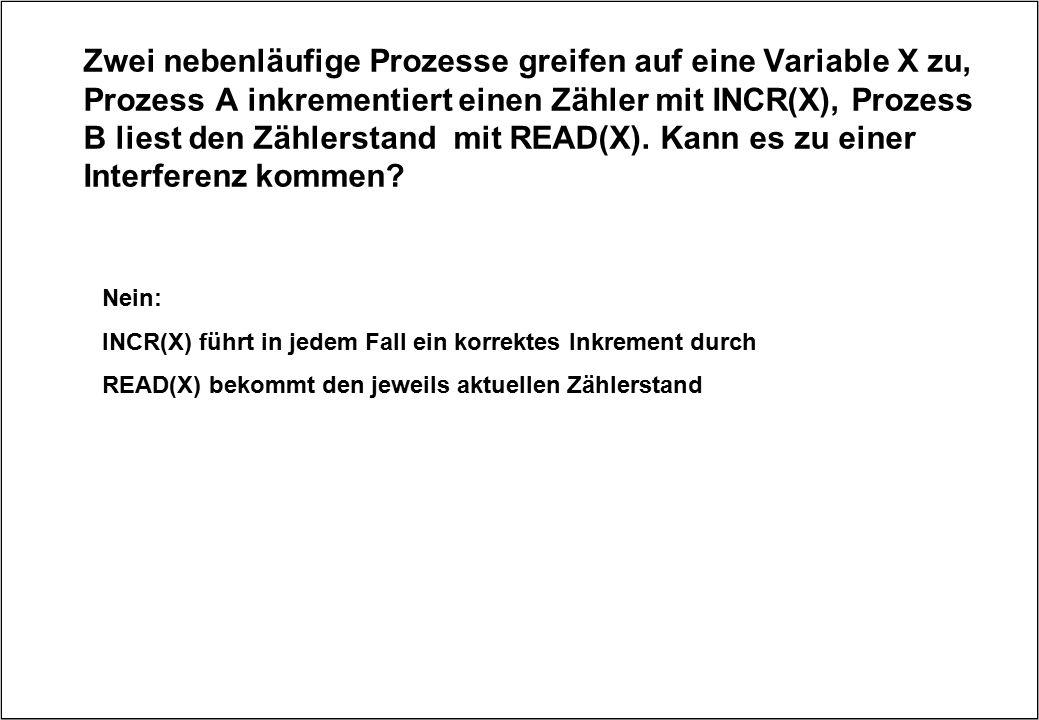 Zwei nebenläufige Prozesse greifen auf eine Variable X zu, Prozess A inkrementiert einen Zähler mit INCR(X), Prozess B liest den Zählerstand mit READ(